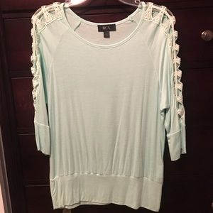 Mint green open arm shirt